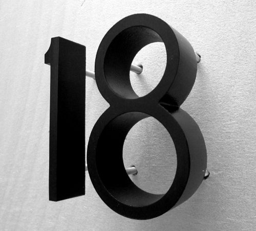Painted Cast Metal House Numbers in Ribbon Font