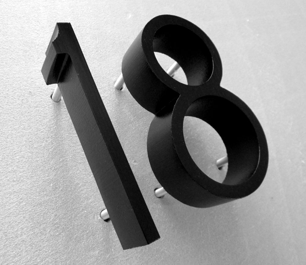 Merveilleux 18 Cast Metal Numbers Ribbon Deep Font