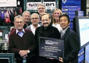Pictured at AES 2011 in NYC during the presentation of the Sanken CO-100K Certificate are (L-R) METAlliance founders Al Schmitt, George Massenburg, Elliot Scheiner, Frank Filapetti, Phil Ramone, Chuck Ainlay, and Sanken Gen. Mgr. Yasu Ogata. Photo by David Goggin.