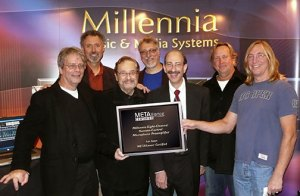 Pictured (L-R) are METAlliance co-founder George Massenburg, Millennia President/Founder John La Grou, Phil Ramone, Frank Filipetti, Millennia Managing Director Joel Silverman, Ed Cherney, and Chuck Ainlay. Photo by David Goggin.