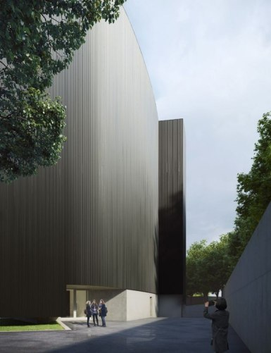 Rendu extérieur. MoAE - Musée d'éducation artistique de Huamao par Álvaro Siza avec Carlos Castanheira