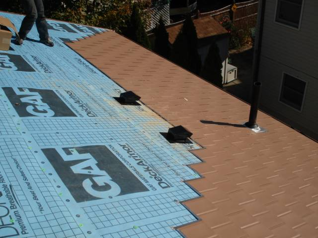 metal shingles installation around passive vents