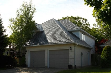 Ontario home with slate-style steel roof from Metal Roof Outlet