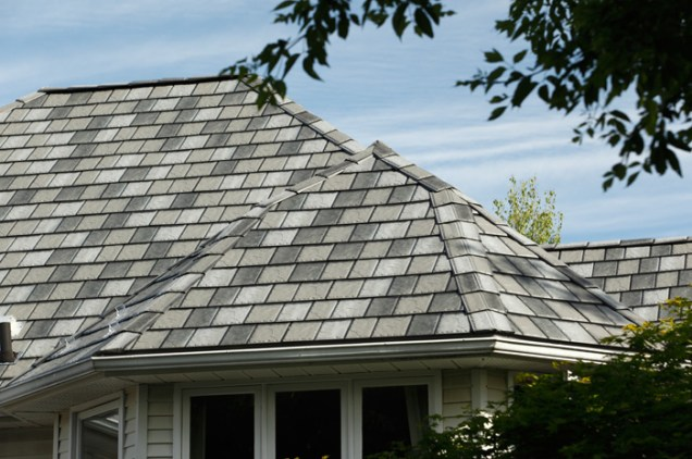 Metal slate roofing with a mix of shades installed by Metal Roof Outlet