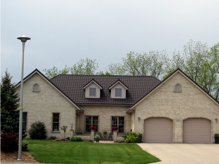 Natural slate style metal tile roof in Ridgetown Ontario from Metal Roof Outlet