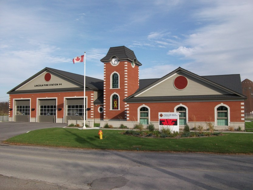 The Lincoln Fire Station in Jordan, Ontario is protected by a durable and beautiful Metal Slate Roof in Weathered Stone by Metal Roof Outlet!
