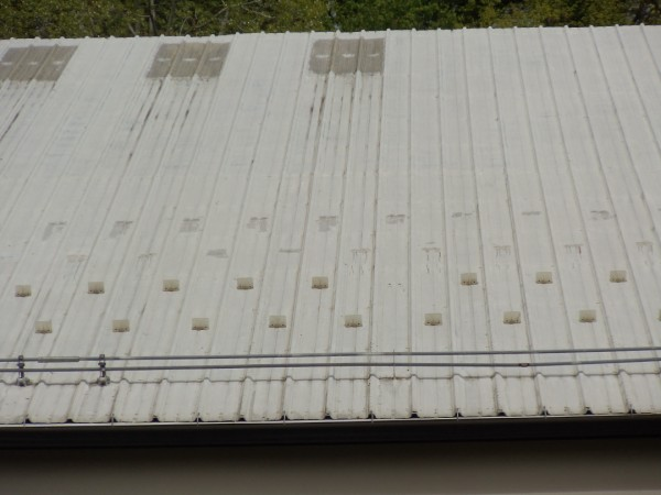 A corrugated metal roof on a barn