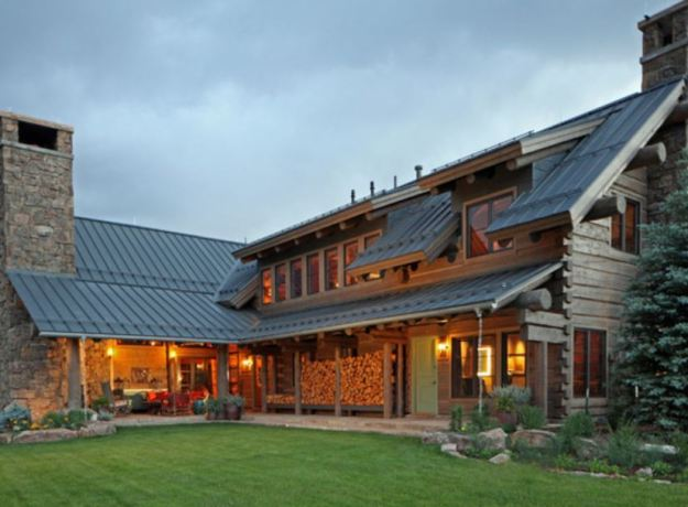 zinc-roof-on-a-log-home-at-sunset