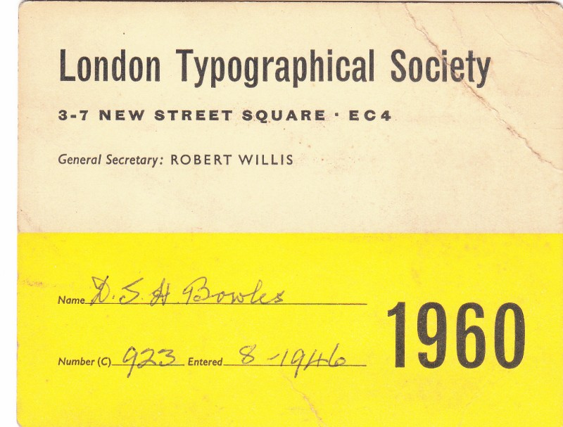 London Typographical Society 1960