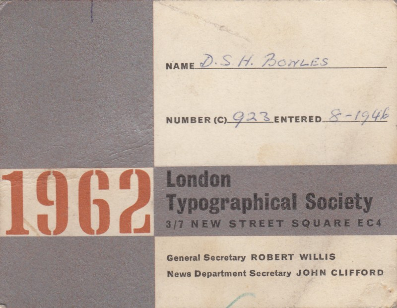 London Typographical Society 1962