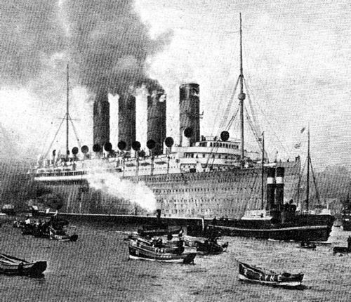 Pride of the River Tyne and for many years of the Atlantic, the famous liner RMS Mauretania leaves the Tyne for her first trials at sea on September 17, 1907