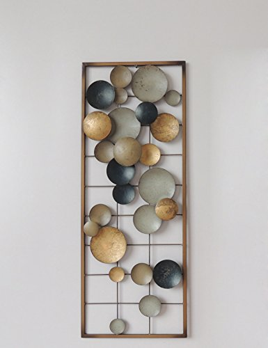 All American Collection New Aluminum//Metal Wall Decor with Frame Circles Earth Colors