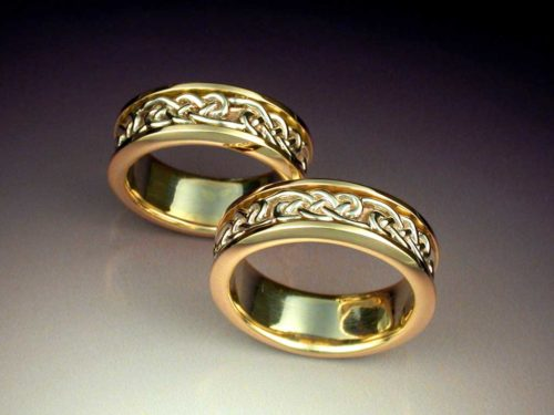 14k White Amp Yellow Gold Celtic Knot Wedding Ring