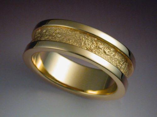 14k Gold Wedding Band With Rock Texture Metamorphosis