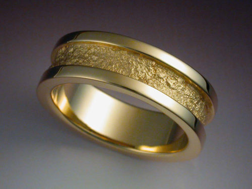 14k Gold Wedding Band With Rock Texture Metamorphosis Jewelry Design