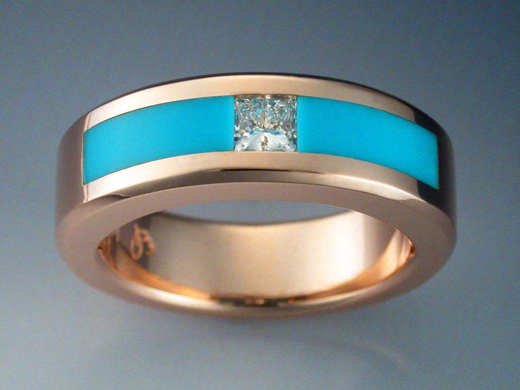 14k Rose Gold Diamond Amp Turquoise Ring Metamorphosis