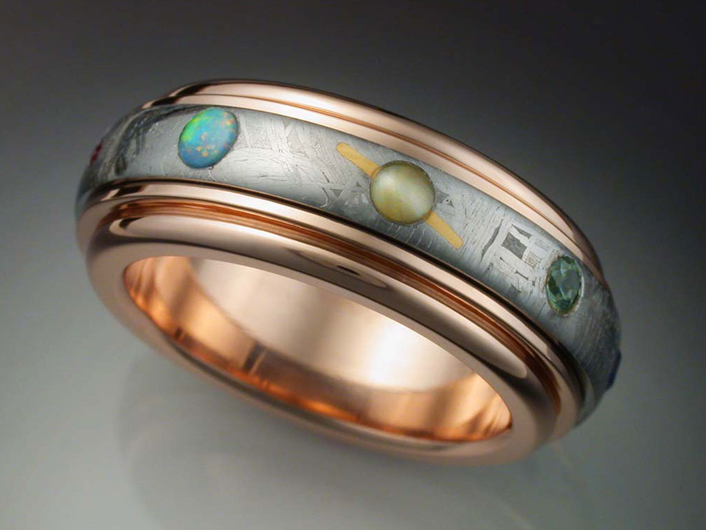 14k Rose Gold Nine Planets Ring With Meteorite Amp Gems