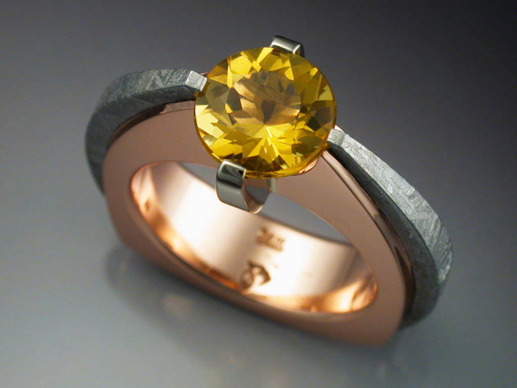 14k Rose Gold Ring With Heliodor Amp Gibeon Meteorite