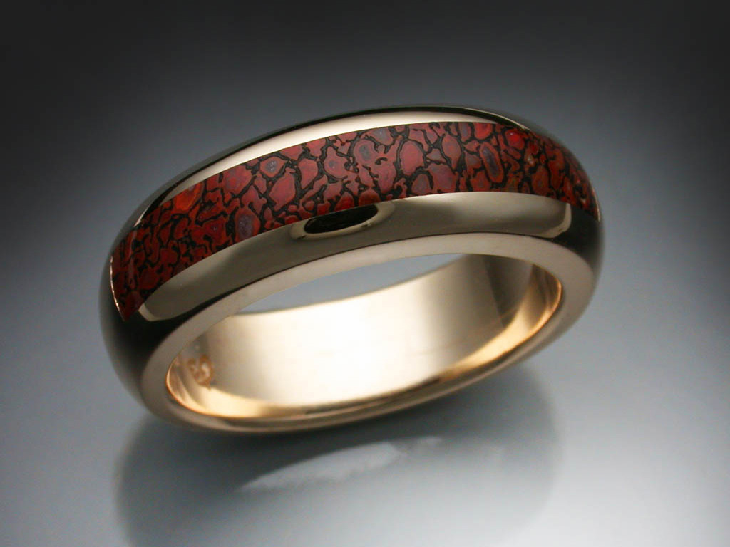 Gem Dinosaur Bone Inlay Ring Metamorphosis Jewelry Design