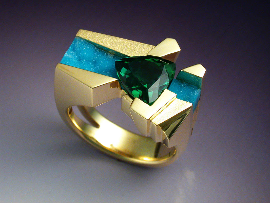 Unique 18k Gold Ring With Tourmaline Amp Chrysocolla