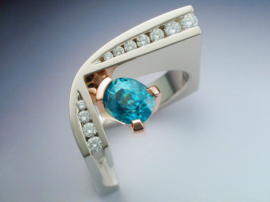 White Amp Rose Gold Ring With Blue Zircon Amp Diamonds