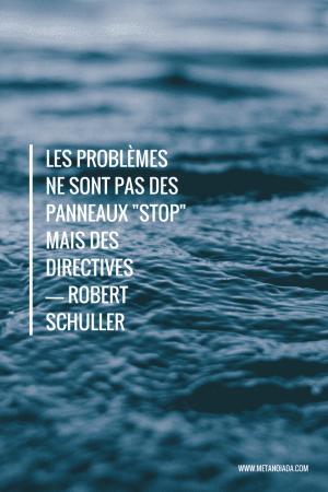 """Les problèmes ne sont pas des panneaux """"stop"""" mais des directives - Robert Schuller"""