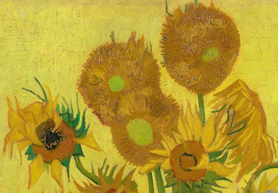 Vincent van Gogh, Still Life: Vase with Fifteen Sunflowers [DETAIL], 1888.