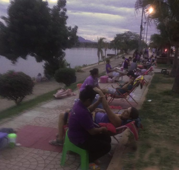a massage on the river bank