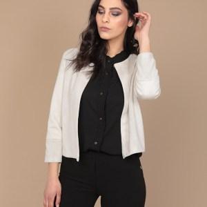giacca in pelle traforata bianca