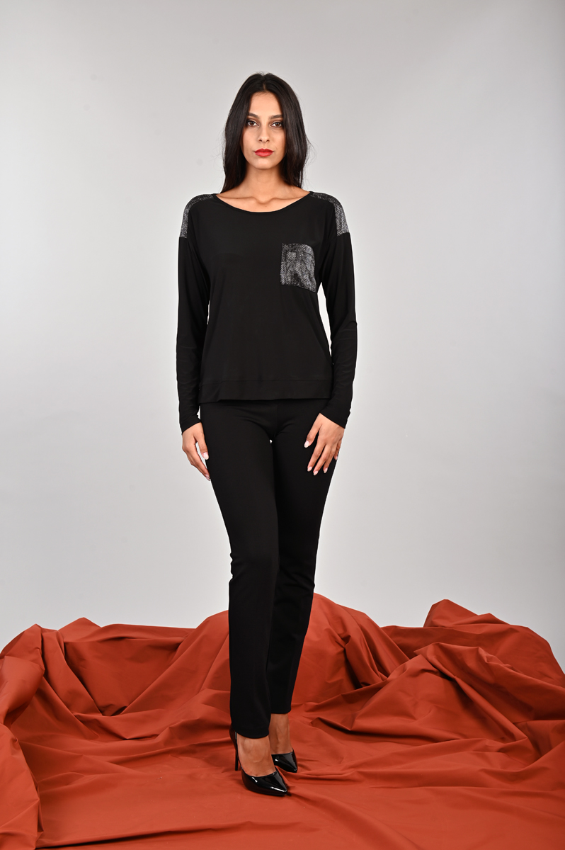 Maglia con dettagli in pelle lurex per la donna curvy Meteore Curvy Fashion