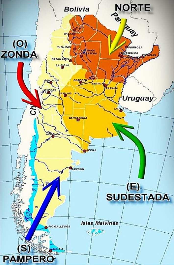vientos locales de Argentina
