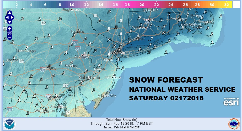 National Weather Service Snow Forecasts Updated Amounts Raised 02172018