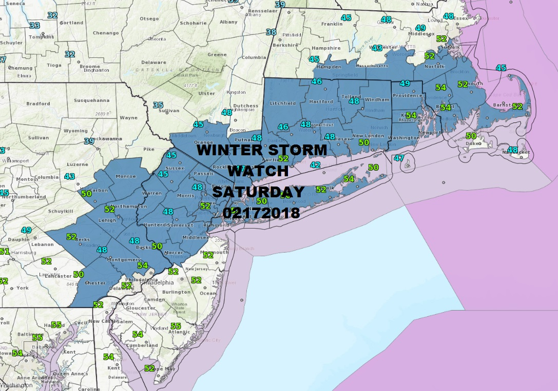 Winter Storm Watch Saturday Into Sunday Morning