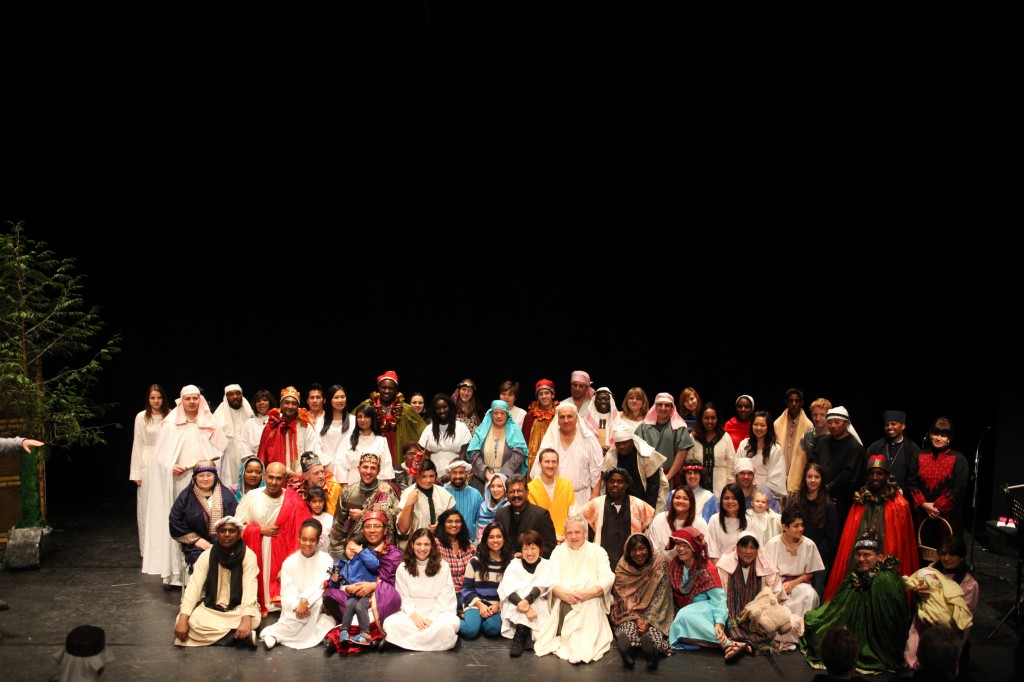 The cast of the nativity, with 56 nationalities represented.
