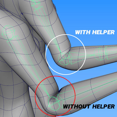 how to rig in maya: elbow helper bone rigging and skinning comparison image