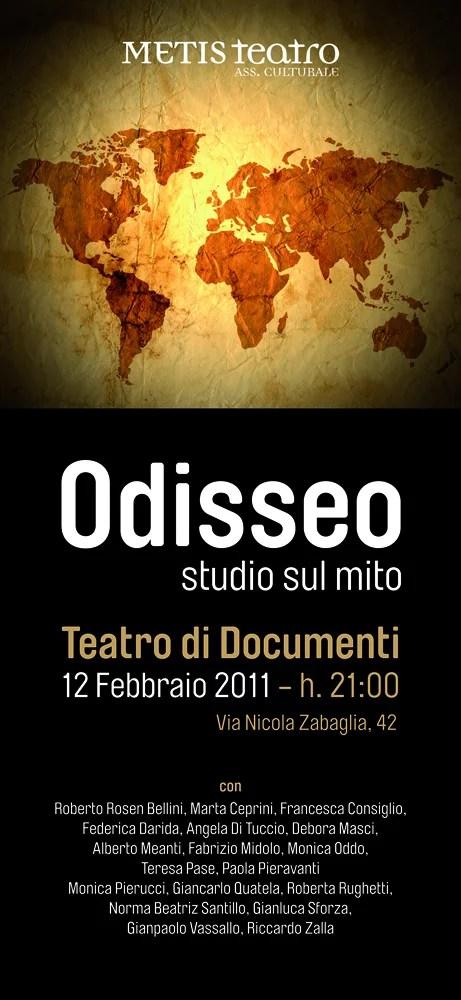 locandina dello spettacolo odisseo al teatro di documenti compaagnia metis teatro roma