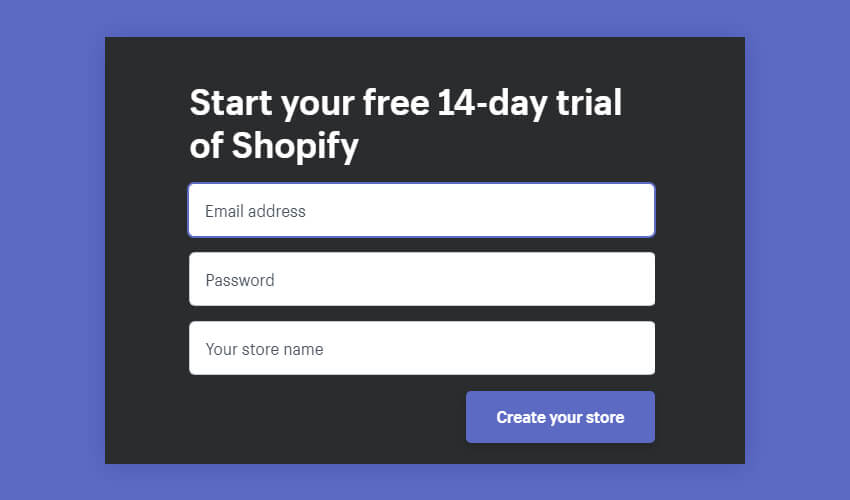 Sign Up into Shopify Account