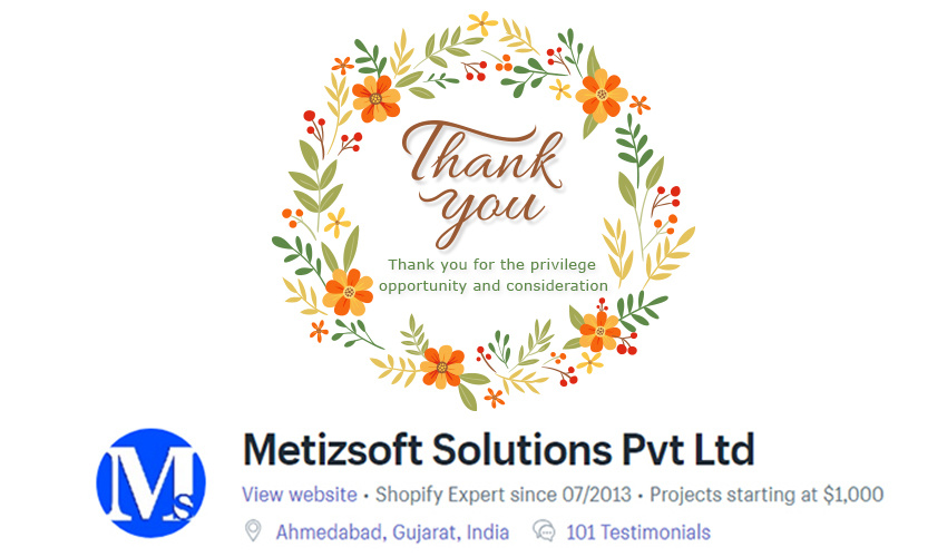Thank You for 100+ Reviews on Shopify Experts – Metizsoft Solutions