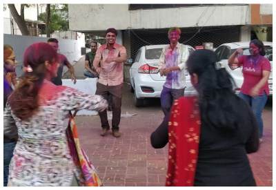 Playing Garba after Holi