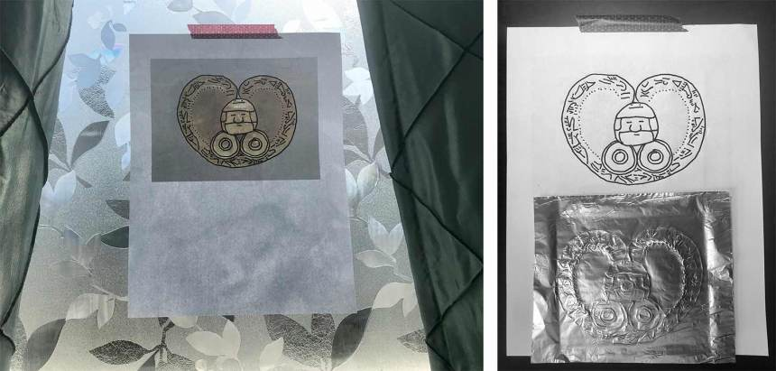 Left: a computer printout of a heart-shaped gold pendant is taped to a window. Right: a repousséed piece of tin foil with the design from the pendant on it rests over a drawing of the pendant.
