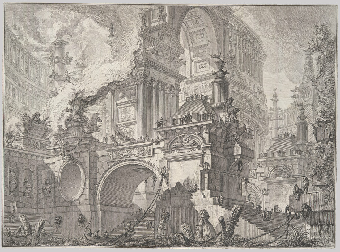 <B>Parte di ampio magnifico Porto all'uso degli antichi Romani (Part of a spacious magnificent harbor in the manner of the ancient Romans)</B>, ca. 1749–50, Giovanni Battista Piranesi (Italian), Etching, first state before caption plate (37.45.3.41)