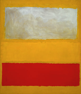 Abstract Expressionism No. 13 (White, Red, on Yellow)