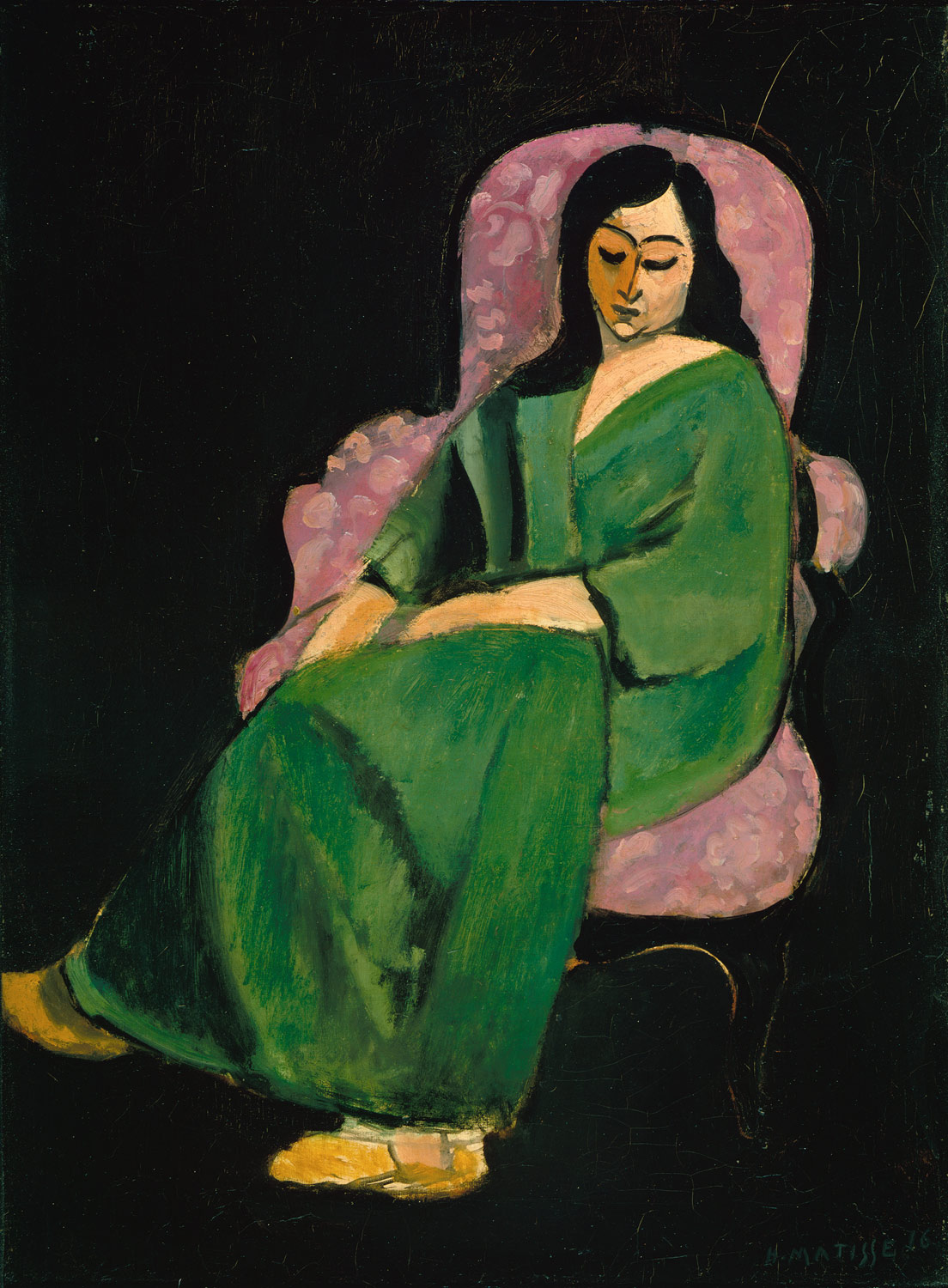 Laurette in a green robe