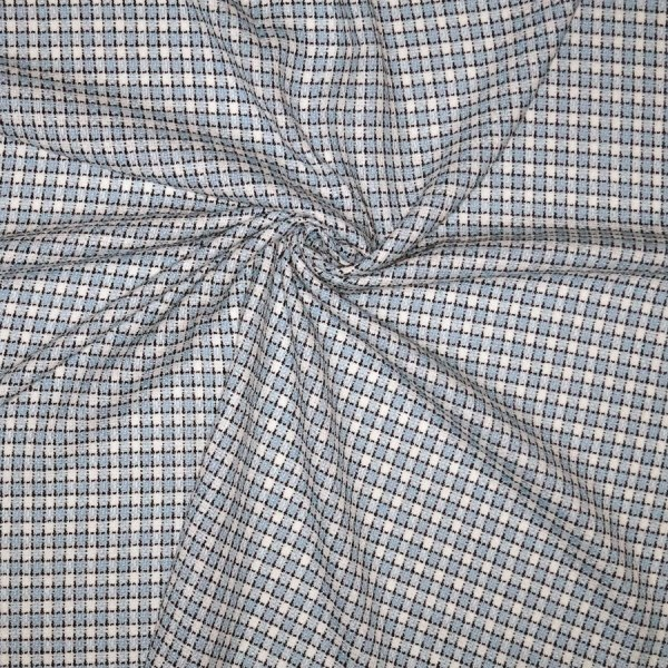 Tessuto bouclè damiè azzurro