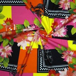 Rasatello di cotone stretch – geometrico floreale
