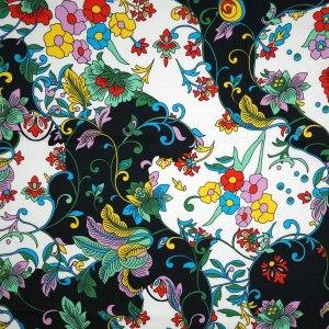 Rasatello di cotone stretch – floreale su bianco e nero