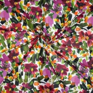 Jersey viscosa lucida – pennellate floreali toni caldi