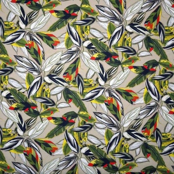 Tessuto tela lino foglie verde giallo