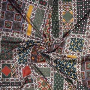 Viscosa fantasia geometrica patchwork verde bruciato