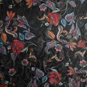 Jacquard lamè oro stampato – disegno floreale multicolor su fondo nero
